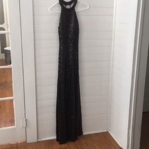 B Darlin Black Sequined Gown